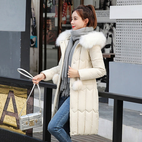 Long Down Cotton Padded Hooded Fur Parka Coat