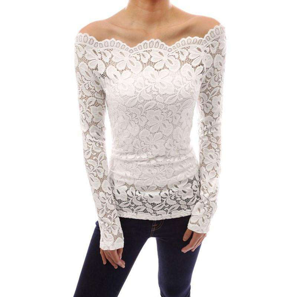 Off Shoulder Lace Crochet Long Sleeve Blouse