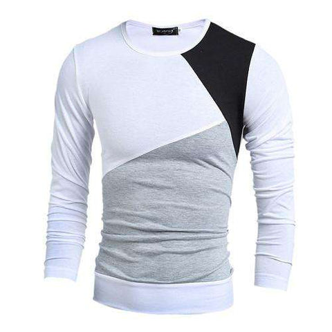 Casual Slim Fit Striped Patchwork Long Sleeve Tshirt