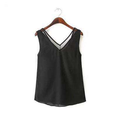 Deep V Neck Hollow Out Chiffon Women Tank Top