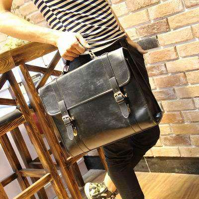 Horse PU Leather Men Bags Vintage Business Leather Briefcase