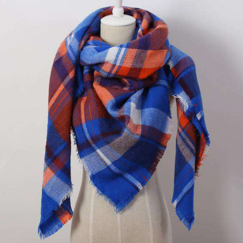 Scarf Acrylic Pashmina Fashion Tassels Plaid Shawl