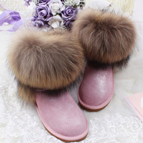 Women's Natural Real Fox Fur Snow Boots