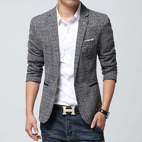 Linen Casual Suit Mens Blazers Slim Fit Regular Single Breasted
