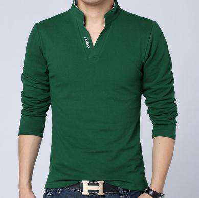 Fashion Brand Men Clothes Solid Color Long Sleeve Slim Fit