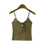 Women Camis Front Cross Lacing Up Strappy Bustier Crop Top Tank