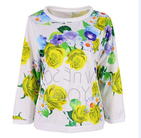 Girl Long Sleeve Floral Print T Shirts Crew Neck Casual Tops
