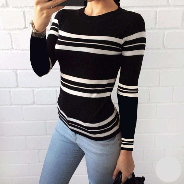 Winter O-Neck Long Sleeve Knitted  Patchwork Women