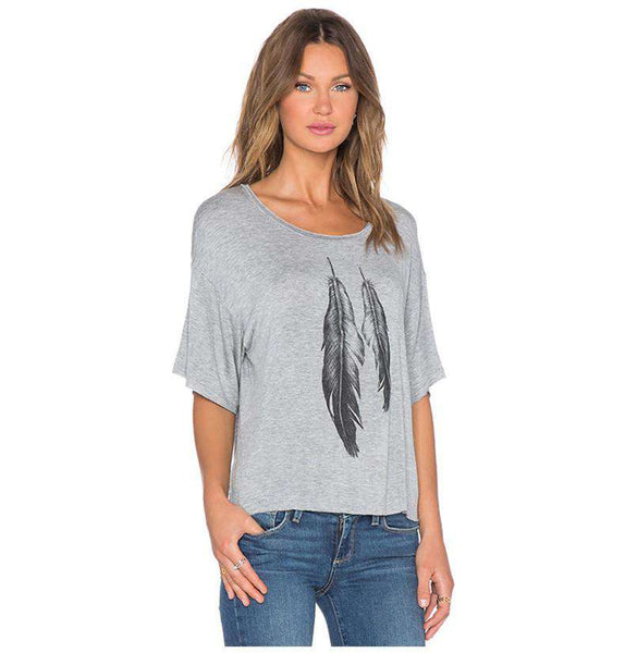 European street Style gray plumage print Lady Tops off shoulder loose