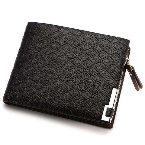 Fashion Brand Short Plaid Designer Men's Leather Wallet