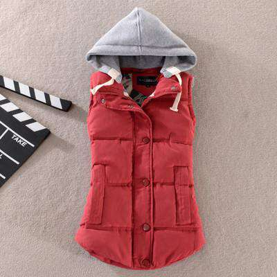 Cotton Vest Women Patchwork Sleeveless Hooded Collar Casual