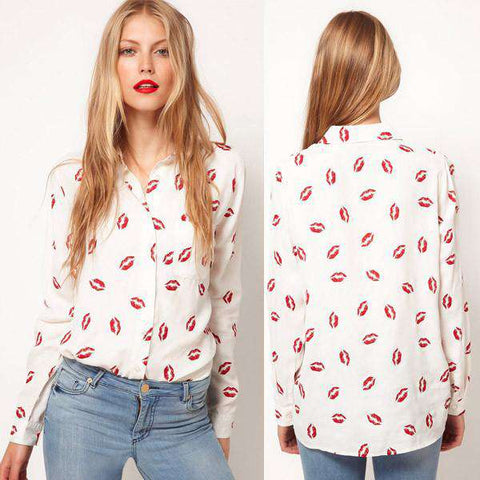 Button Down Collared Long Sleeve Kiss Printed Shirt