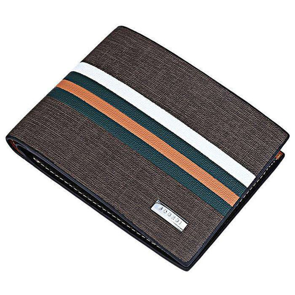 Brown Striped Men's Leather Wallet