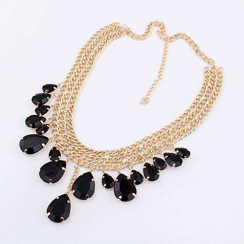 Chunky Chain Crystal Multilayer Gold Metal Necklace
