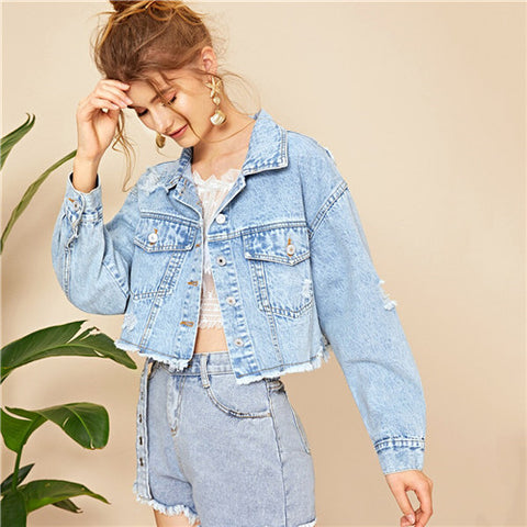 Frayed Edge Blue Ripped Crop Denim Jacket
