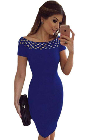 Bodycon Short Sleeve Studded Neck Office Wear Off Shoulder Dress
