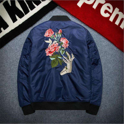 Mens Thicken Bomber Jacket Solid Rose Cotton Padded