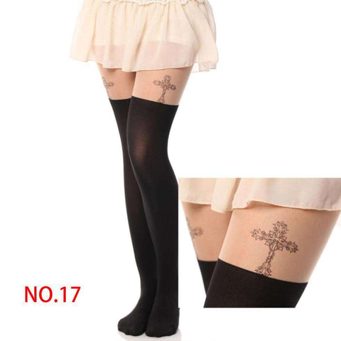 Girl's Pantyhose Design Pattern Printed Tattoo Stockings