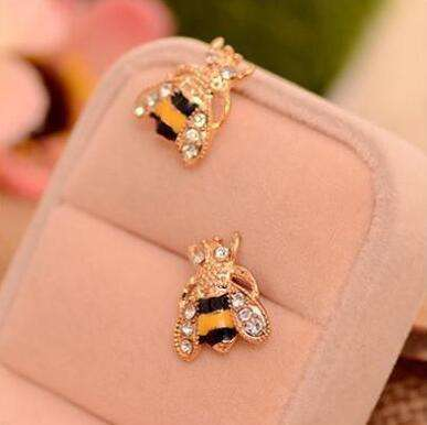 Cute Rhinestone Insect Small Bee Crystal Stud Earrings for Women