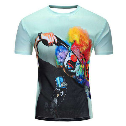 3D Punk Printed Short Sleeve O-Neck T-Shirt Men