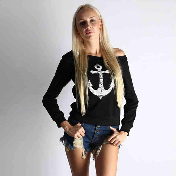 One Off The Shoulder Anchor Printed Long Sleeve Tee