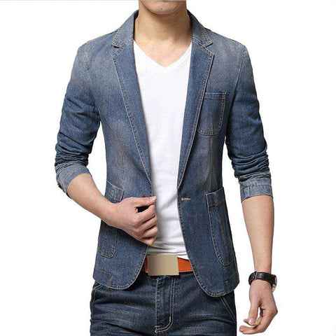 Jeans Suits Men's Casual Suit Jean Slim Fit Denim Blazer