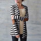 Women Long Sleeve Striped Printed Cardigan Casual Elbow