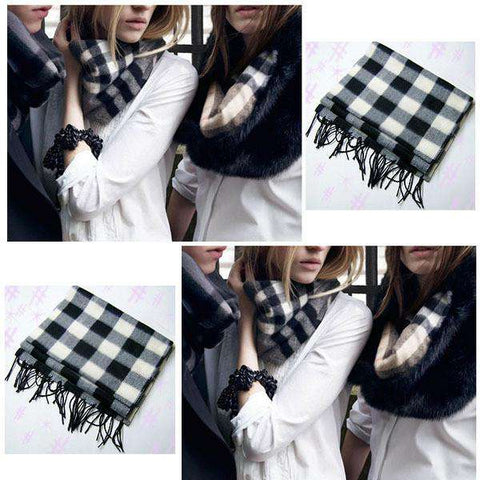 Plaid Women Wool Blend Wrap Winter Warm Fleece Scarf Shawl