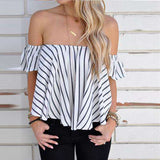 Women off shoulder top  Stripe Casual Shirt Tops