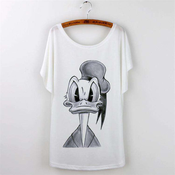 Casual T-shirt Tops Short Sleeve O-neck White Print