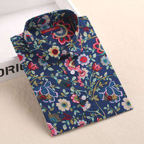 Flower Pattern Long Sleeve Ladies Cotton Blouse