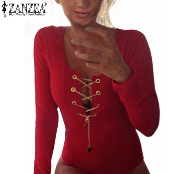Womens Slim Fit Playsuits Long Sleeve Tops Jumpsuit