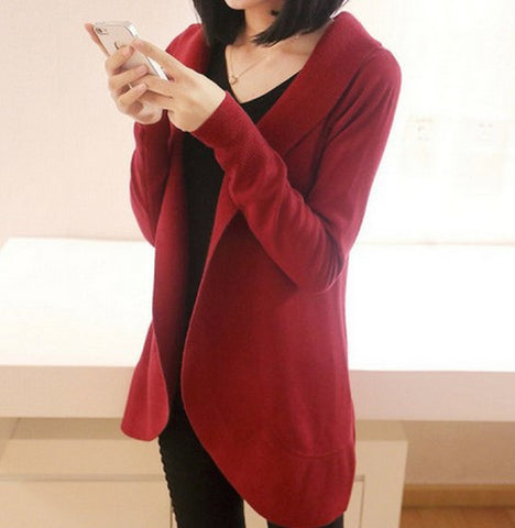 Women Long Sleeve Knitted Sweater Casual Solid Scarf Collar