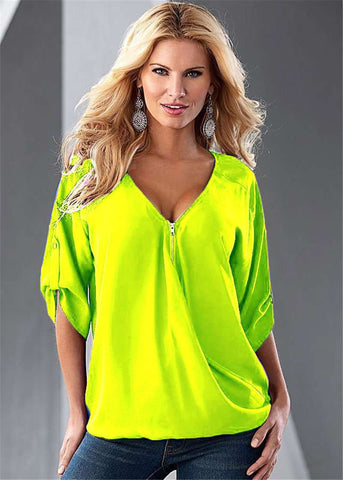 Casual Women Summer Elegant Sexy V-Neck Solid Long-Sleeve