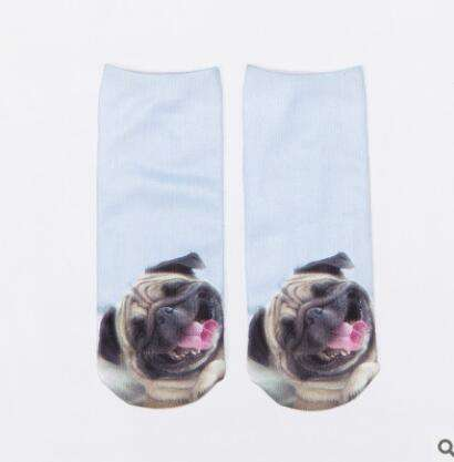 3D Pug Animal Printed Women Socks