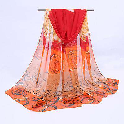 Print Hijab Neck Warmer Silk Scarf Women