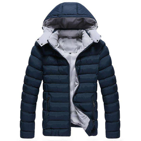 Men's Hooded Coat Jackets Navy Blue