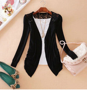 Women Candy Color Slim Thin Lace Hollow Out jacket Knitted Cardigan