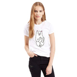 Women T Shirt  Print Black Pocket Cat  Short Sleeve