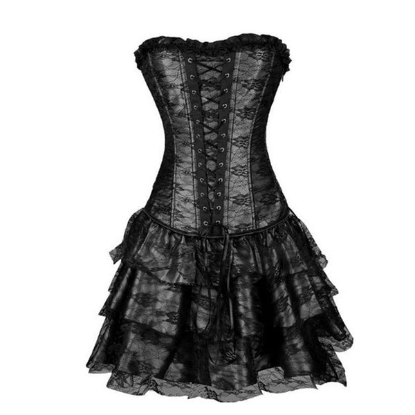 Women Lace Party Dress Steampunk Corselet off shoulder