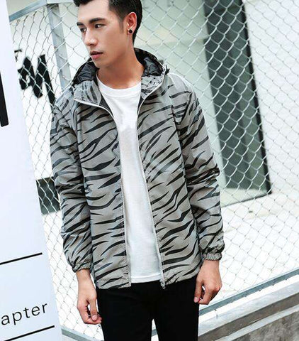 Men jacket casual windbreaker reflective coat