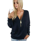 V-Neck Tee Shirt With Zippers Long Sleeve casual Tops