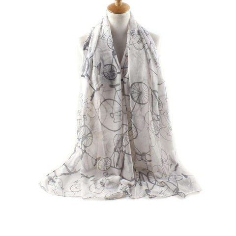 Print Scarf Women Bicycle Pattern Shawl