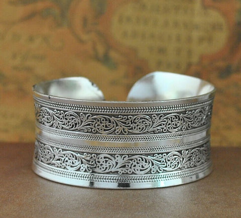 Women Vintage Silver Bangles Antique Ethnic Statement Cuff Bracelets