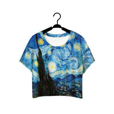 Crop Top Graffiti Painting women Casual Tee
