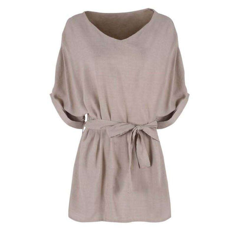 Cotton Linen Tunic V Neck Loose Blouse Female