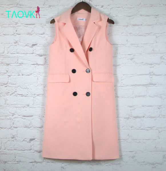 style women Autumn Vest Red White Pink rand Yellow lapel solid