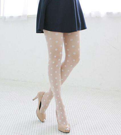 Black & White sheer Lace dot Pantyhose Stockings Tights