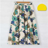 Casual Long Floral Print Women Cotton Linen Skirts