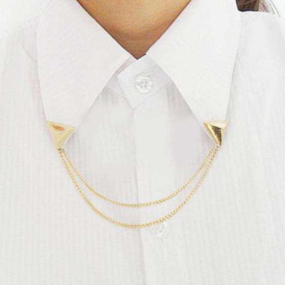 Blouse Shirts Collar Neck Tip Brooch Pin Chain Punk For Women